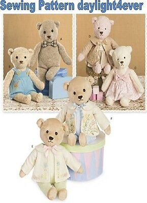 Stuffed Bears with Clothes 21.5 inch Sewing Pattern Simplicity 8155 New #x