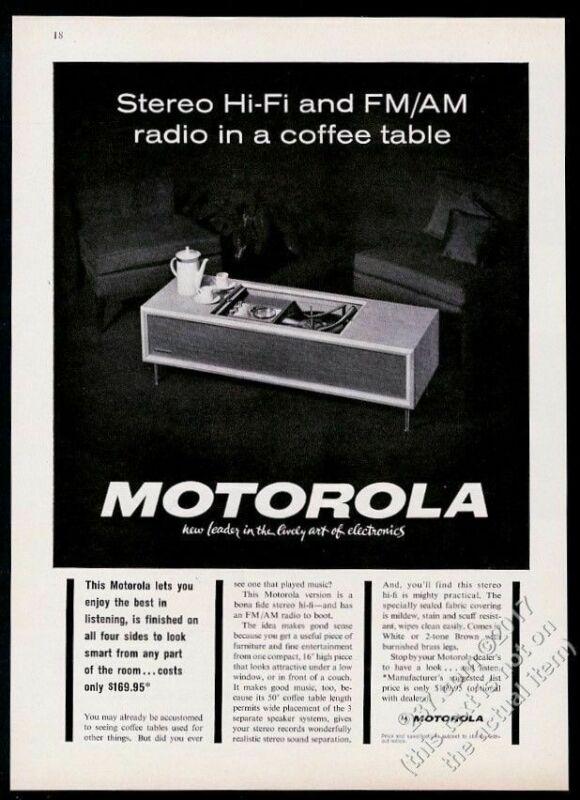 1963 Motorola hi fi stereo in mid-century modern table photo vintage print ad