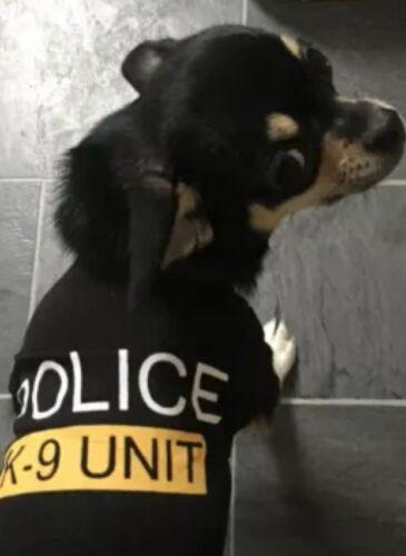 Chihuahua Size (XSmall) (Black) Police K9 Unit Dog T Shirt, Puppy Dog Clothing