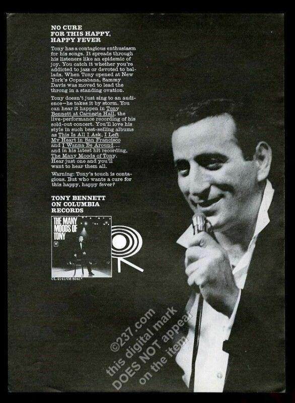 1964 Tony Bennett photo Columbia Records vintage print ad