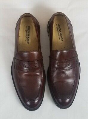 Johnston & Murphy Men's Shoes Size 11.5 M Brown Leather Loafers Made in Italy