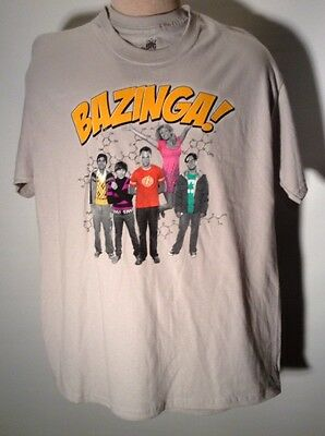 Bazinga Big Bang Theory Cast T Shirt Tee L Sheldon Howard Leonard Rajesh Penny