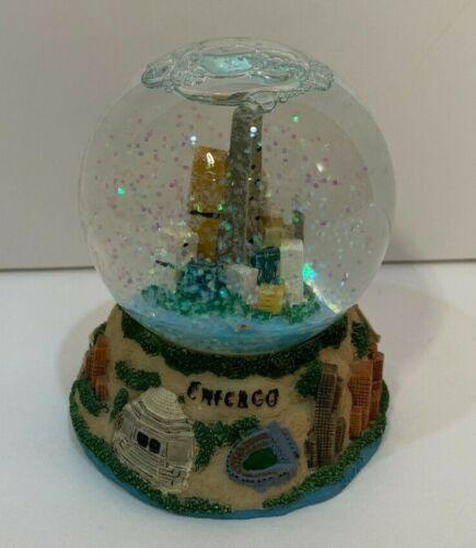 Chicago Illinois Skyline Mini Glitter Snow Globe Souvenir Colorful Travel Gift