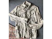 All Saints Designer Baedecker Military Mens Linen Jacket, Small