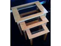 Nest of 3 Pine Tables with Glass Inserts