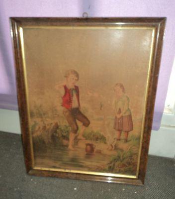 Jugendstil Bild Litho Kinder in schönem Bilderrahmen #1