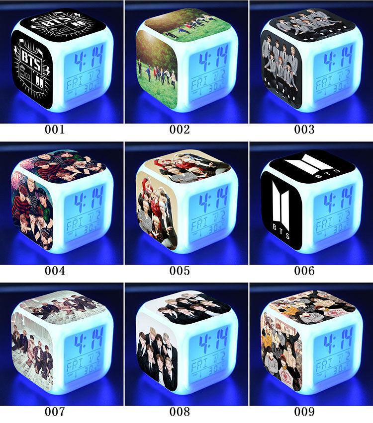 BTS Bangtan Boys Fans Gift LED Night light Digital Alarm Clock Color Changer *A*