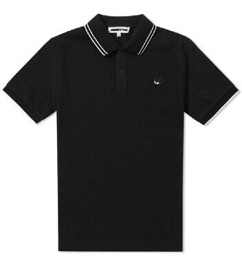 McQ Alexander McQueen Black Piqué Chest Swallow Embroidered Polo T-Shirt Size M