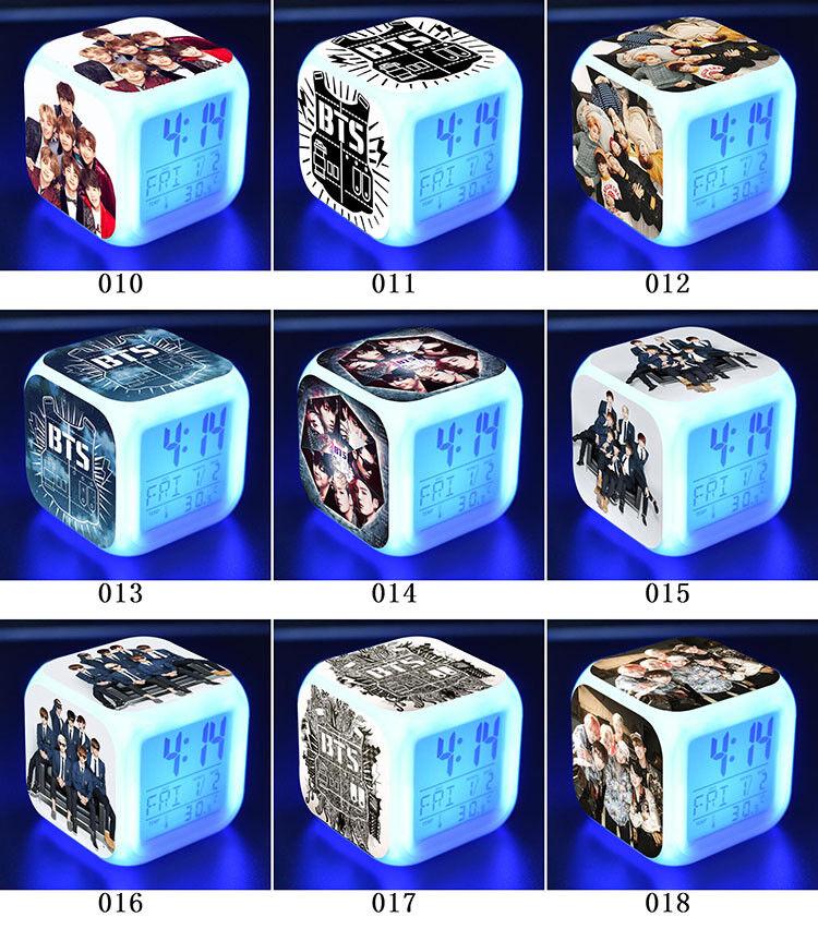 BTS Bangtan Boys Color Changer LED Night light Digital Alarm Clock Fans Gift B