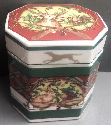 "Noritake Royal Hunt Plaid Deer Pheasant Rabbit Dog Trinket Box 31/2x3"" 3930"