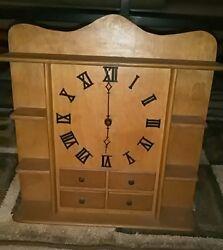 VTG.Wooden Wall Clock W/ Display Shelves Quartz Movement & Roman Numeral Display