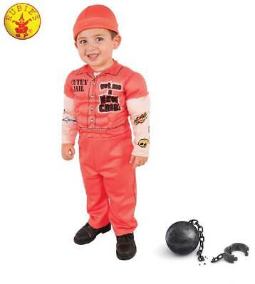 MUSCLEMAN PRISONER COSTUME LIL CONVICT BABY BOY JAILBIRD TODDLER HALLOWEEN XS, - Infant Jailbird Halloween Costume