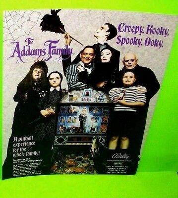 Original Addams Family Halloween (The ADDAMS FAMILY Pinball FLYER Original NOS HALLOWEEN Horror Promo Art)