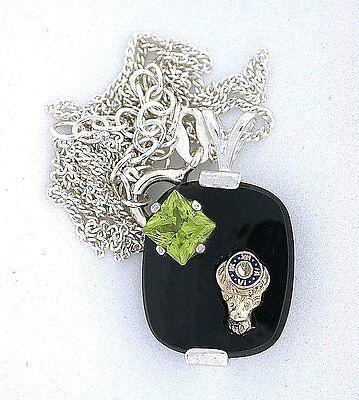 16x14 Cushion Elks Club Black Onyx Peridot Sterling Silver Pendant Chain  ES7827