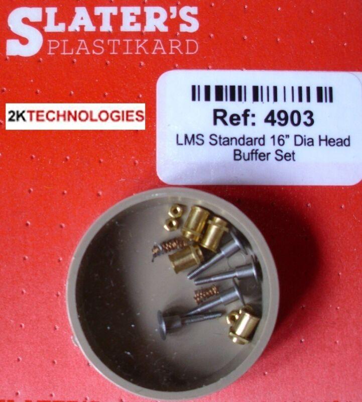 """Slaters 4903 4mm LMS Standard 16"""" Dia Head Loco Buffer Set (x 4)"""