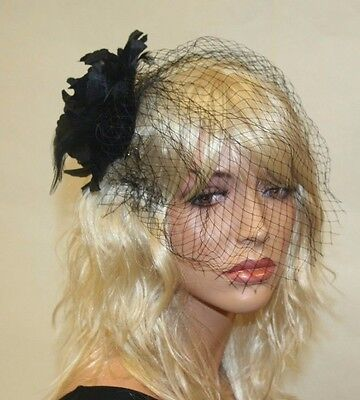 Black Fascinator with Flower and Veil, Wedding and Prom Accessories - Flowers And Veil