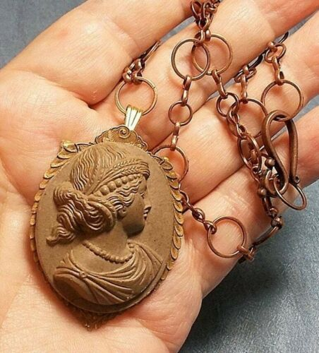 Huge Lava Cameo Brooch/Necklace 1800s Carved High Relief Beauty Ceres Wheat Bead