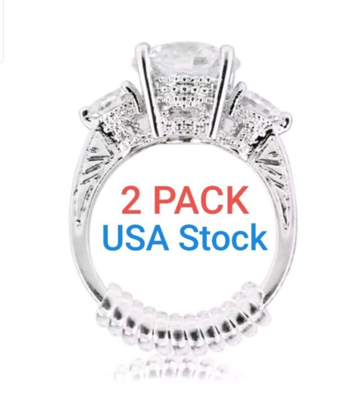 FREE SHIPPING... 2-Pack Invisible Ring Size Reducer Adjuster Snuggies Resizer
