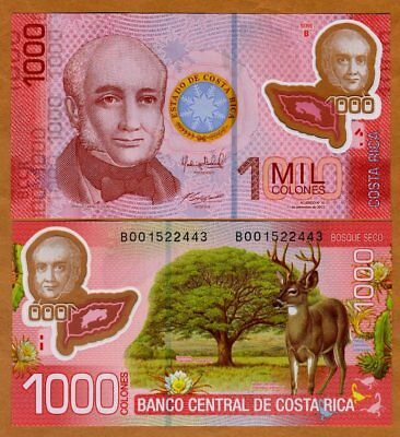 Costa Rica  1000 Colones 2013  2017   P 274B  Polymer New Date And Sign  Unc