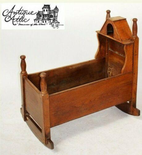 Antique American Oak Child's Covered Rocking Cradle Bassinet