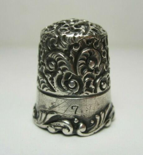 Antique Ketcham & McDougall Louis XV Thimble Size 7 Sterling Silver ca. 1890