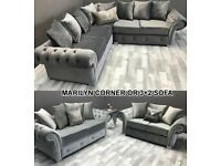 EXPRESS DELIVERY! MARILYN CHESTERFIELD ARM CORNER/3+2 SEATER SOFA | FINANCE AVAILABLE | SWIVEL CHAIR