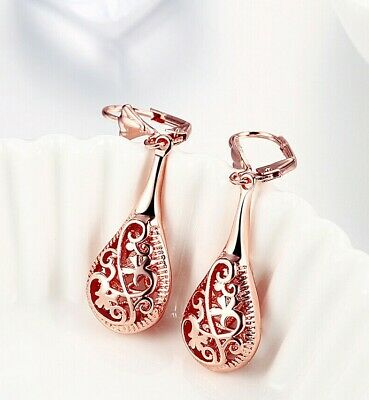 - 18K Rose Gold Filigree Teardrop Lever Back Drop Dangle Earrings L130