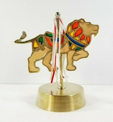 Vintage 1985 Enesco Stained Glass Carousel Lion Music Box Brass