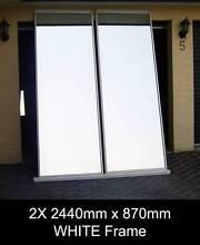 2x 2440 x 870 WHITE Frame Mirror Wardrobe Sliding Doors + Tracks Penrith Penrith Area Preview