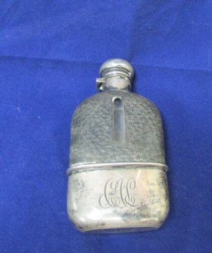 Vintage Sterling Silver & Glass Hip Flask