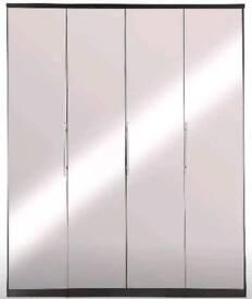 Prague 4-Door Wardrobe *BLACK* With Mirrored Doors.H 201, W 163, D 52 cm.