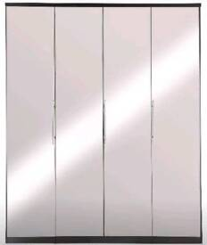 Prague 4-Door Wardrobe *GREY* With Mirrored Doors.H 201, W 163, D 52 cm.