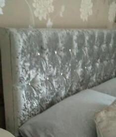 Crushed velvet double bed as new