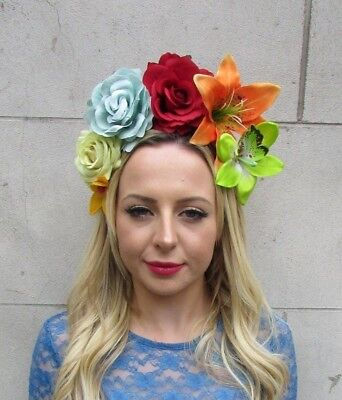 Mexican Lily Rose Large Flower Headband Hair Crown Day of the Dead Green 6128](Day Of The Dead Hair Flowers)