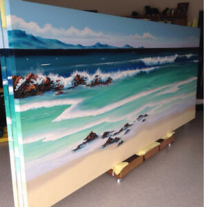 Seascape Triptych Painting Original Artwork Acrylic on Canvas Varsity Lakes Gold Coast South Preview