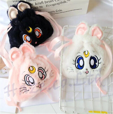 Sailor Moon Cat Luna Plush Drawstring Cosmetic Pouch Purse Bag Kids Gift - Cat Make Up Kids