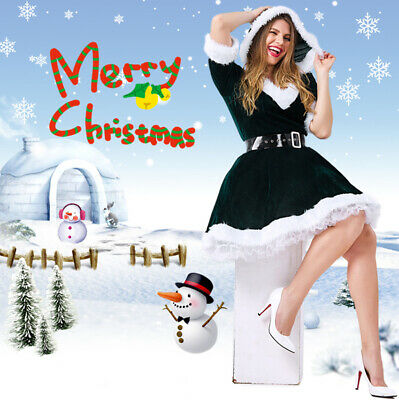 Ladies Santa Claus Christmas Xmas Fancy Dress Up Costume Outfit Red Green ()