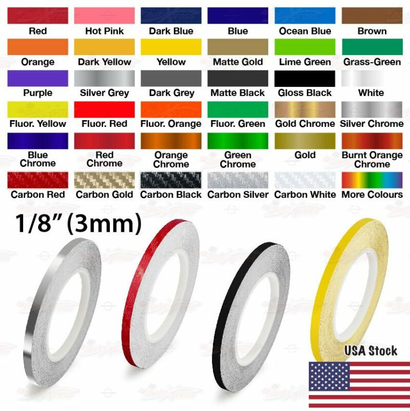 """3mm 1//8/"""" PinStriping Pin Stripe Tape SOLID Line Decor Decal Vinyl Sticker YELLOW"""
