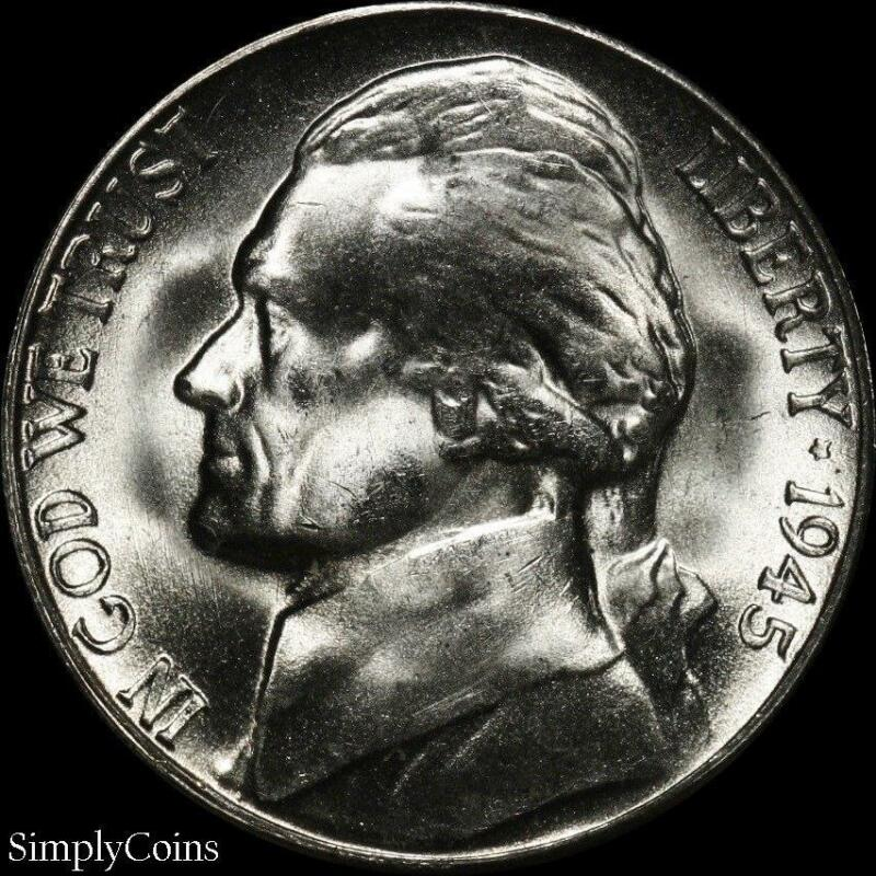 1945-S Jefferson Silver War Nickel 5c ~ BU Uncirculated ~ LUSTER! US Coin