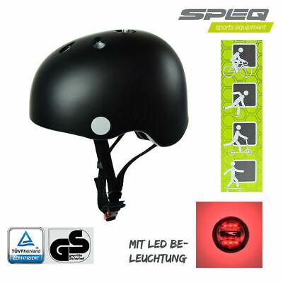 #904 Speq Kinderhelm LED Skatehelm Verstellbar 48-53cm Fahrradhelm Tüv Schwarz