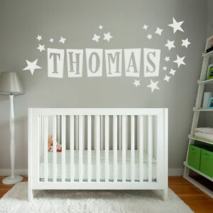Custom-Text-Name-Vinyl-Wall-Door-Sticker-Children-Kids-and-Stars-Fonts-Colours