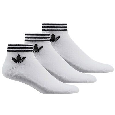 Adidas Originals Trefoil Ankle Socks 3 Pack Shoe Liner White AZ6288