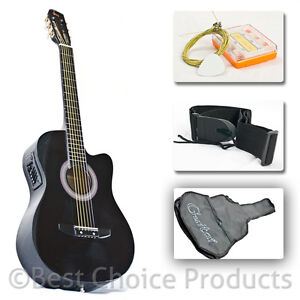 Electric-Acoustic-Guitar-Cutaway-Design-With-Guitar-Case-Strap-Tuner-Black-New