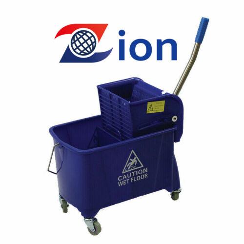 PREMIUM 25Qt Commercial  Blue Mop Bucket Side Press Wringer on Wheels Cleaning