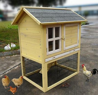 """Premium 37"""" Wood Wooden Rabbit Hutch Small Animal House Pet Cage Chicken Coop"""