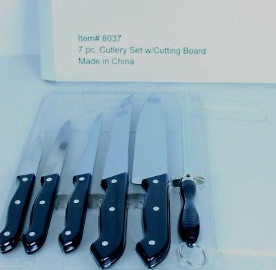 Omaha Steaks 5 Pc Knife Set W  Cutting Board And Sharpener 8037 Sealed