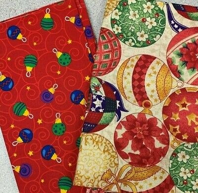2 YARDS Christmas Fabric CRAFT cotton red CHRISTMAS ORNAMENT #7 ()