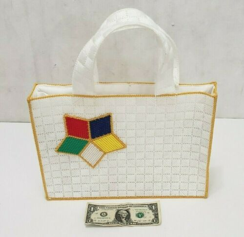 Order of the Eastern Star - Woven Bag Purse Handbag Satchel - White Yellow Trim