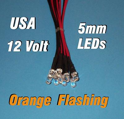 10 Flashing Leds 5mm Pre Wired 12 Volt Orange 12v Blink