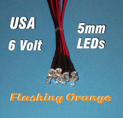 10 Flashing Leds 5mm Pre Wired 6 Volt Orange Blink 6v Prewired